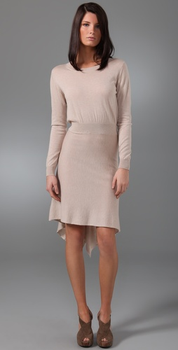 3.1 Phillip Lim Long Sleeve Dress with Drape Back Skirt