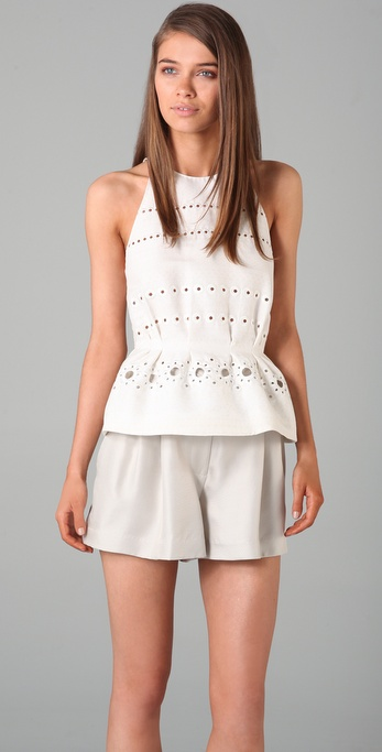 3.1 Phillip Lim Sleeveless Eyelet Peplum Top with Illusion Back
