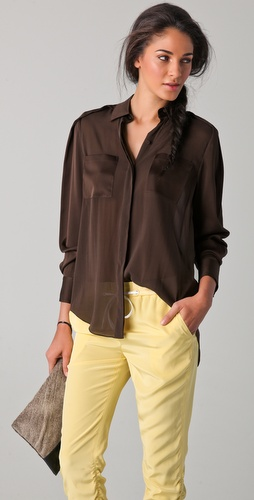 3.1 Phillip Lim Combo Sleeve Chiffon Shirt