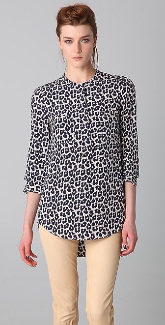 3.1 Phillip Lim Leopard Print Hidden Zipper Shirt