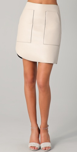 3.1 Phillip Lim Overlapped Seam Leather Skirt