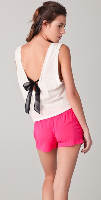 3.1 Phillip Lim Black Ribbon Tie V Neck Tank
