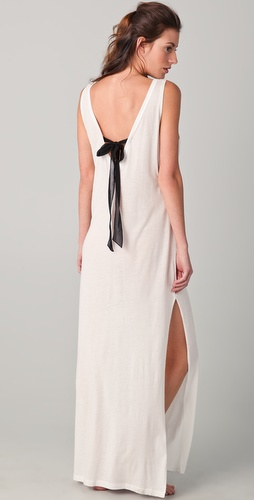 3.1 Phillip Lim Black Tie V Back Crew Maxi Dress