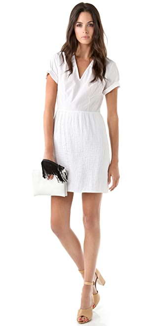 3.1 Phillip Lim V Neck Dress with Pintucked Skirt
