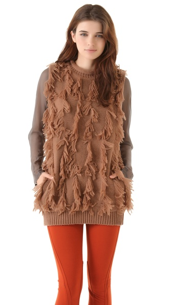 3.1 Phillip Lim Fringe Intarsia Sleeveless Tunic
