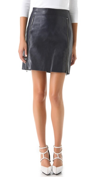 3.1 Phillip Lim Zip Panel Leather Skirt