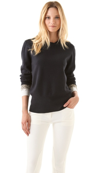 3.1 Phillip Lim Crystal Cuff Felted Sweater