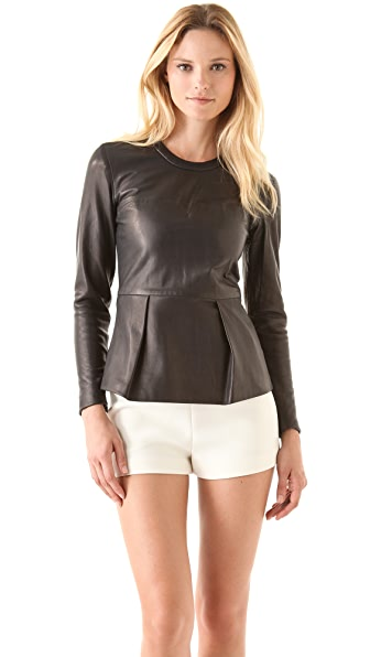 3.1 Phillip Lim Leather Peplum Top
