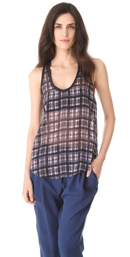 3.1 Phillip Lim Napped Plaid Combo Tank