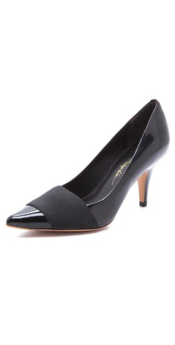 Kupi 3.1 Phillip Lim cipele online i raspordaja za kupiti A wide elastic panel curves over the sleek, pointed toe of these smooth leather 3.1 Phillip Lim pumps. Leather sole.  Leather: Cowhide. Imported, China.  MEASUREMENTS Heel: 3in / 75mm - Black
