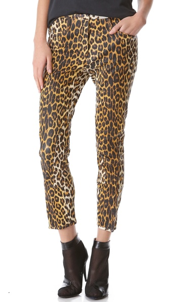 3.1 Phillip Lim Leather Leopard Jodhpurs