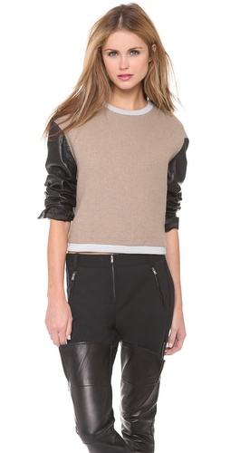 3.1 Phillip Lim Leather Sleeve Tricolor Top at Shopbop / East Dane