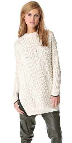 3.1 Phillip Lim Zip Oversized Pullover with Faux Trim at Shopbop / East Dane