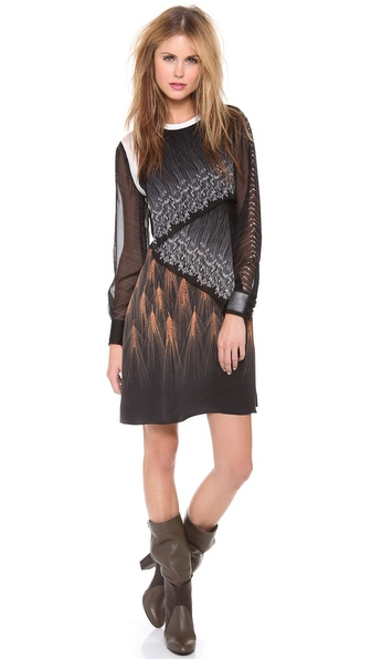 3.1 Phillip Lim Draped Mix Print Dress