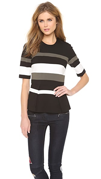 3.1 Phillip Lim Striped Peplum Top