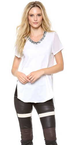 3.1 Phillip Lim Overlapped Side Seam Tee with Beaded Neckline at Shopbop / East Dane