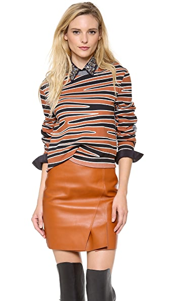 3.1 Phillip Lim Twisted Crop Top with Biker Sleeves