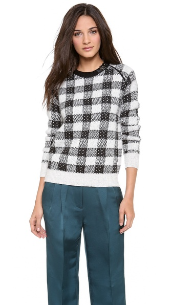 3.1 Phillip Lim Buckle Neck Plaid Sweater