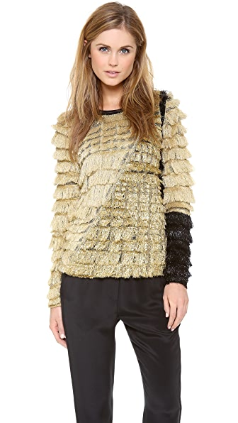 3.1 Phillip Lim Metallic Fringe Colorblock Pullover