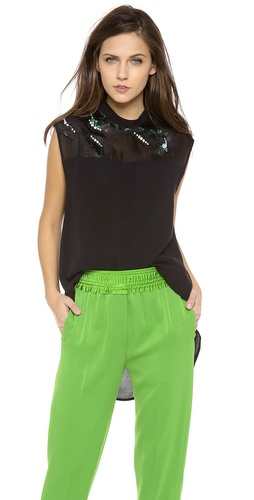 3.1 Phillip Lim Banded Collar Embellished Top at Shopbop / East Dane