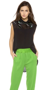 3.1 Phillip Lim Banded Collar Embellished Top