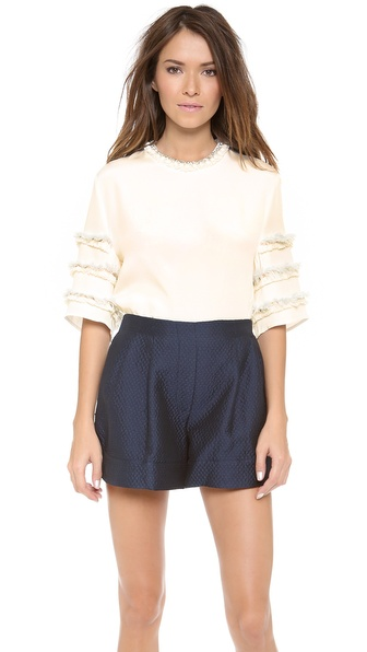 3.1 Phillip Lim Sculpted Tee with Embellished Sleeves