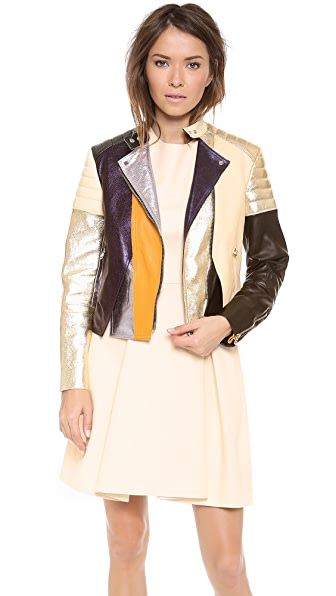 3.1 Phillip Lim Colorblocked Biker Jacket with Shoulder & Elbow Padding