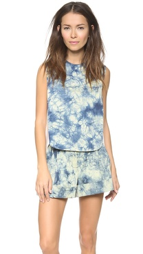 3.1 Phillip Lim High Low Hem Tank with Leather Detail