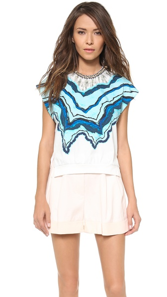 3.1 Phillip Lim Rock & Wood Neckline Printed Tee