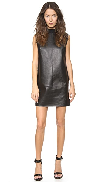 3.1 Phillip Lim Back Fringe Leather Shift Dress with Rib Detail