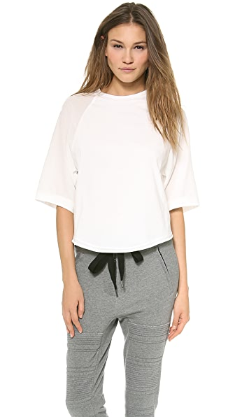 3.1 Phillip Lim Silk 3/4 Sleeve Baseball Tee