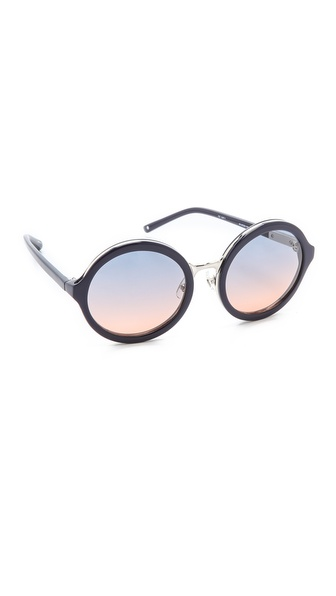 3.1 Phillip Lim Glam Round Sunglasses - Navy at Shopbop / East Dane