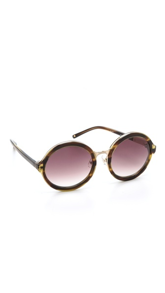 3.1 Phillip Lim Glam Round Sunglasses - Tiger Eye at Shopbop / East Dane