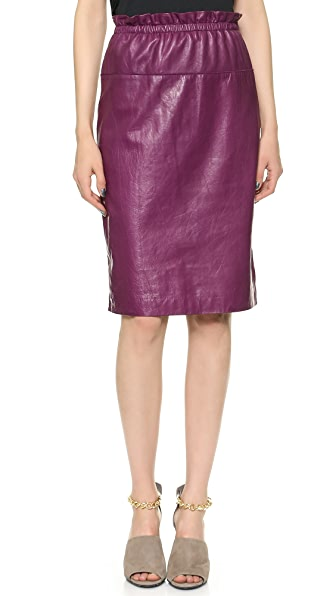 3.1 Phillip Lim Paperbag Waist Leather Skirt