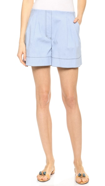 3.1 Phillip Lim Chambray Bonded Shorts - Laundered Indigo at Shopbop / East Dane
