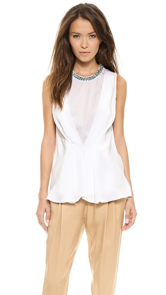3.1 Phillip Lim Pintuck Sleeveless Top - White at Shopbop / East Dane