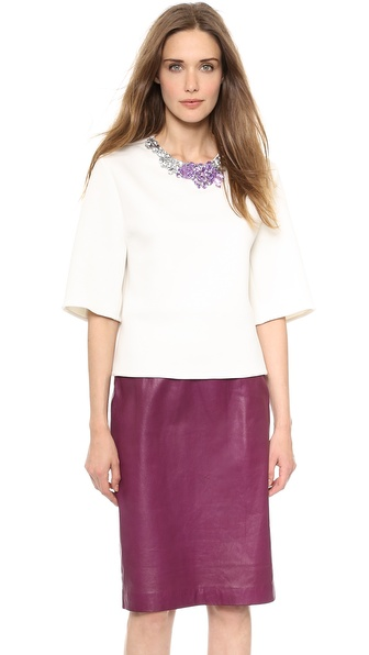 3.1 Phillip Lim Boxy Shirt with Crystal Neckline