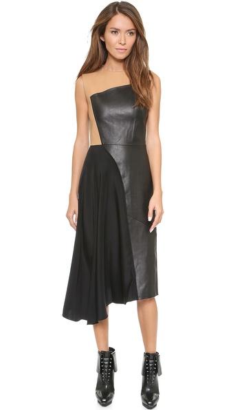 3.1 Phillip Lim Horizon Leather Combo Dress - Black