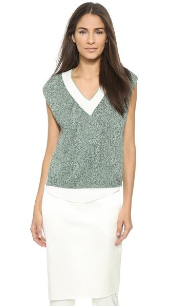 3.1 Phillip Lim Marled Knit & Silk Tank - Green Multi
