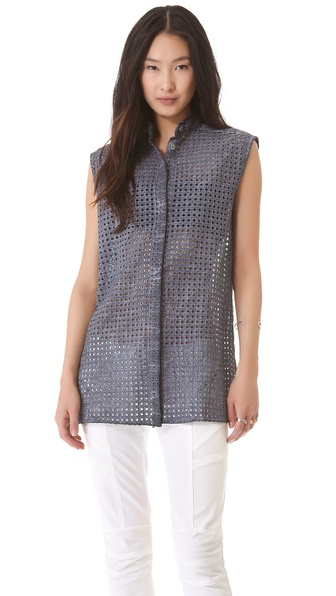 Pierre Balmain Sleeveless Eyelet Shirt