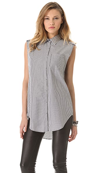 Pierre Balmain Stripe Studded Sleeveless Top