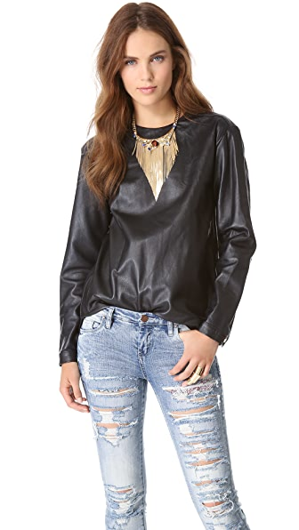 Pierre Balmain Leather Blouse