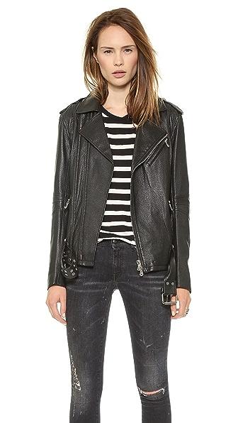 Pierre Balmain Belted Leather Moto Jacket