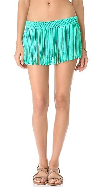 PilyQ Blue Haze Fringe Skirt