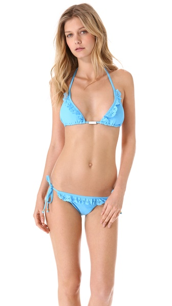 PilyQ Pacific Blue Laser Halter Bikini Top