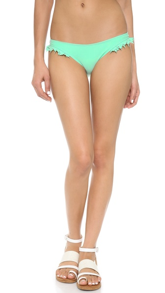 Shop PilyQ online and buy Pilyq Laser Ruffle Bikini Bottoms Turquoise - Laser cut ruffles add delicate texture to a slim pair of PilyQ bikini bottoms. Lined. Shell: 86% polyamide/14% elastane. Lining: 78% polyamide/22% elastane. Hand wash. Imported, Colombia. Available sizes: M,S