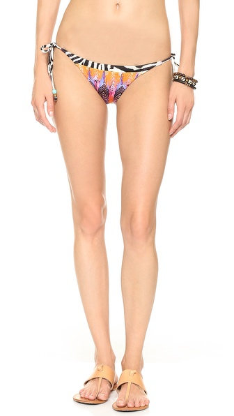 Shop PilyQ online and buy Pilyq Teeny Tie Side Bikini Bottoms Multi - These low rise PilyQ bikini bottoms have a wild mix of colorful animal prints. Beaded straps tie at the hips. Lined. 88% polyester/12% elastane. Hand wash. Imported, Colombia. Size & Fit. Available sizes: M