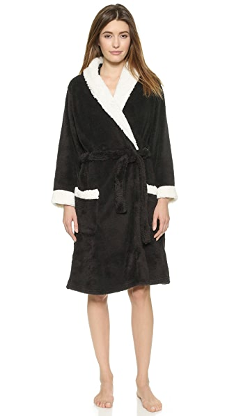 Pj Luxe Pj Salvage Sherpa Trim Robe - Black
