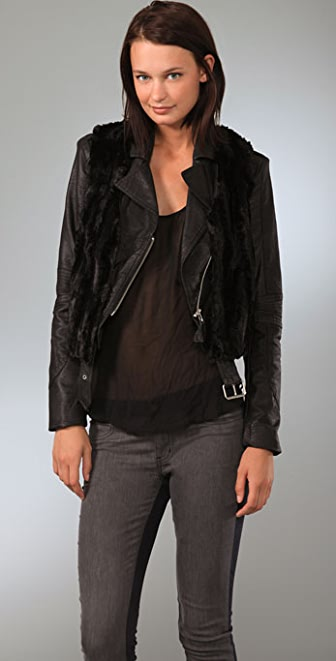 Plastic Island Cropped Faux Leather Moto Jacket