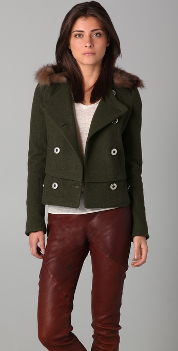 Plastic Island Margaux Double Breasted Jacket with Fur Trim